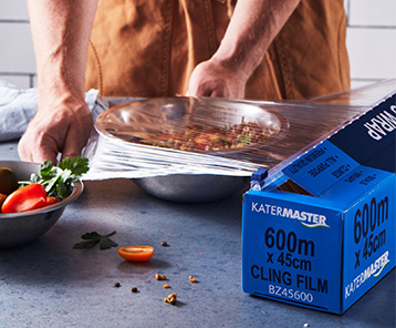 Katermaster has a variety of food wrap including aluminium foil, cling wrap and baking paper