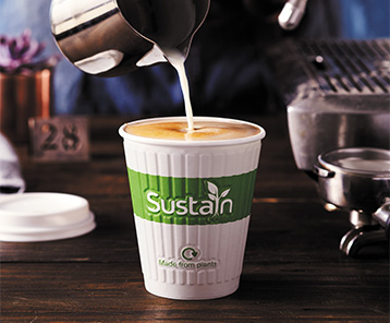 Sustain hot cups are ideal for use with coffee & tea as an evironmentally friendly option