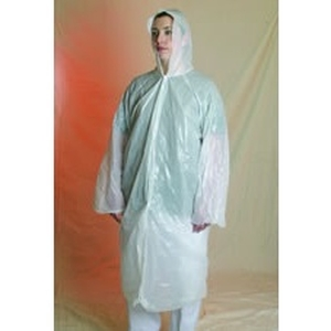 PONCHO WITH HOOD LDPE WHITE 80x125CM product photo