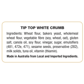 White Crumb Ingredient Label product photo
