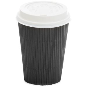 Ripple Wall Hot Cup Black 12oz product photo