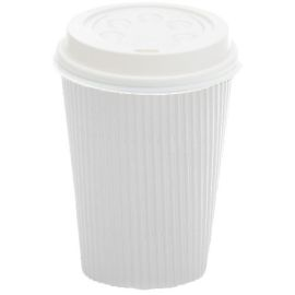 Ripple Wall Hot Cup White 12oz product photo