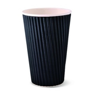 Ripple Wall Hot Cup Black 16oz product photo