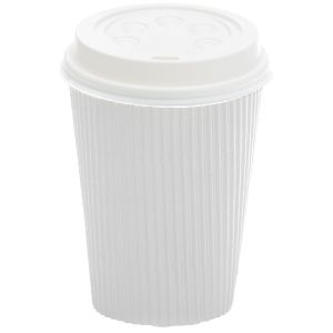 Ripple Wall Hot Cup White 16oz product photo