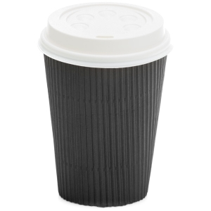 Ripple Wall Hot Cup Black 8oz product photo