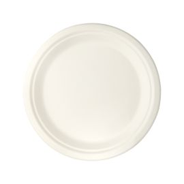 SUGARCANE PLATE ROUND WHITE 9 INCH product photo