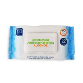 ALCOHOL ANTIBACTERIAL WIPES 50 PACK product photo